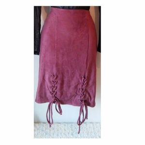 Dresses & Skirts - NWT Pink Faux Suede Pencil Skirt